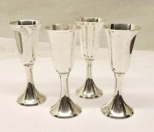Vtg Sterling Silver Stieff Cordial Cup Set Of 4 Lot No 0808 Liquor Glass Wine