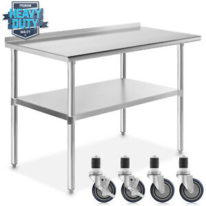 Stainless Kitchen Restaurant Prep Table W Backsplash And 4 Casters 24 X 48