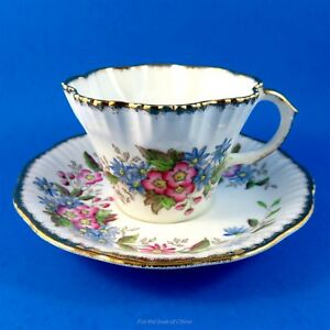 Handpainted Pink And Blue Florals Ruffled Salisbury Tea Cup And Saucer Set