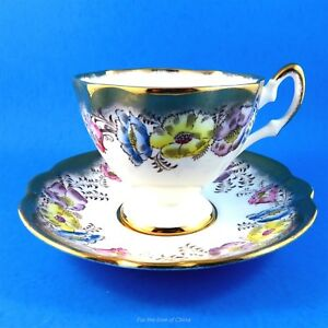 Rich Gold Border With Painted Flowers St Brigid Salisbury Tea Cup