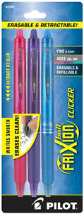 Pilot Frixion Ball Clicker Erasable Gel Ink Pens Fine 0 7mm Retractable Assorted