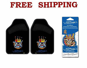 New Ed Hardy Bulldog King Car Truck Carpet Floor Mats Air Freshener Set