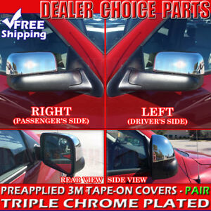 2002 2008 Dodge Ram 1500 03 09 2500 Triple Chrome Mirror Covers Overlays Towing