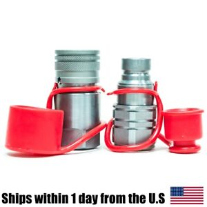 1 2 Npt Flat Face Hydraulic Quick Connect Coupler Set Skid Steer For Bobcat