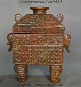 Chinese Old Jade Hand Carved Elephant Head Dragon Pattern Tripod Incense Burner