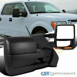 For 07 14 F150 Pickup Power Heat Telescoping Towing Mirrors Signal Puddle Lights