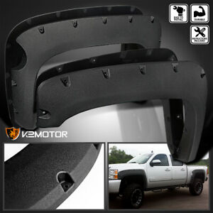 For 2007 2013 Chevy Silverado 1500 Short Bed Rugged Texture Pocket Fender Flares