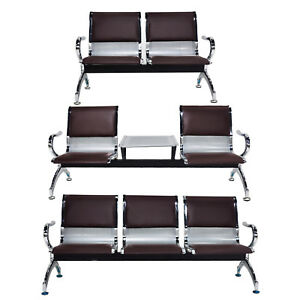 2 Or 3 Seat Airport Waiting Chair Pvc Leather Cushion Hospital Bank Bench Brown