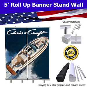Retractable Roll Up Banner Stand Wall 5 Trade Show Display Free Shipping