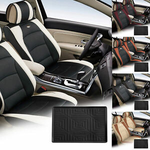 Car Suv Van Pu Leather Seat Cushion Covers Front Buckets 5 Colors With Dash Mat