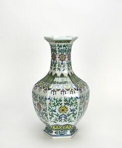 Fine Chinese Hexagon Form Tall Neck Doucai Porcelain Vase