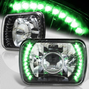 7 X6 H6014 H6052 H6054 Sealed Beam Green Led Black Housing Projector Headlights