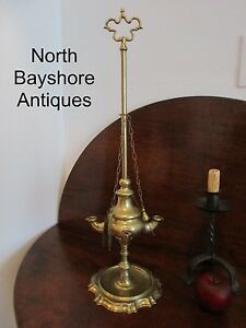 Antique 1700s Early Colonial Lighting Brass George Ii Whale Oil Lamp Aafa
