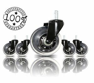 Office Chair Caster Wheels Replacement Set Of 5 By Boss Caster Universal Fit