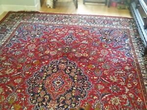 10 X 13 Hand Knotted Persian Mashad Wool Rug Antique 60 Yrs Old
