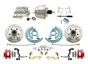 62 67 Chevy Ii Nova Drilled Slotted Disc Brake Conversion Kit Chrome Booster
