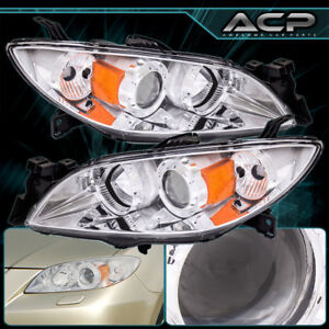 Headlight 04 09 Mazda 3 Chrome Housing Amber Reflector Clear Lens Projector