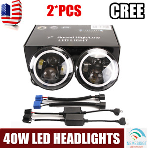 2x 7 Inch Round 40w Led Halo Angel Eyes Headlight For Jeep Wrangler Tj lj cj jk