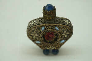 Vintage Irice Perfume Bottle Filigree Jeweled Petit Point Rose Enamel Dauber 2in