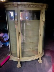 Great Oak Clawfoot Curved Glass China Cabinet Turn Of Century Shipping Zip
