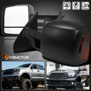 For 2007 2017 Toyota Tundra Sequoia Heated power Extend Led Signal Tow Mirrors