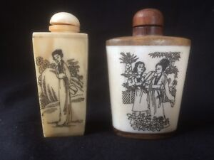 Pair Of Superb 19 C Carved Chinese Antique Bone Snuff Bottle