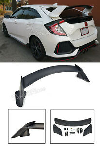 For 16 up Honda Civic Hatchback Rear Trunk Wing Spoiler Type R Style Primered Bk