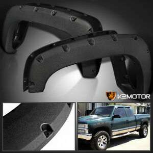 Rugged Textured 88 98 Chevy Gmc C K 1500 Pocket Rivet Style Fender Flares 4pc