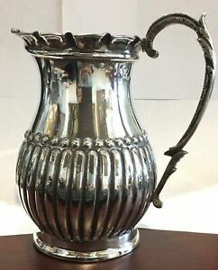 Large Antique Silver Pitcher 800 Fine Estate Piece 25 5 Ozt Height 7 5