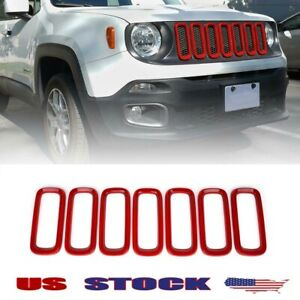 Fits 2015 2019 Jeep Renegade Red Abs Front Grille Inserts Trim Frame Cover 7pcs