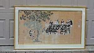 Antique Chinese Painting On Rice Paper Shows A Banquet Table Scene Signed
