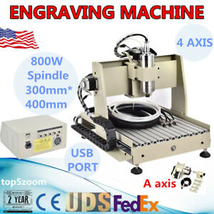 Usb 3040 800w 4 Axis Cnc Router Engraver Engraving 3d Mill cutting Machine mach3