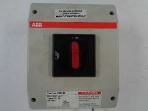 Used Abb Disconnect Switch 3 Pole 60 Amp 600 Vac Type 3r 12 E63822