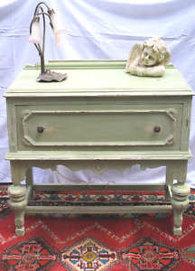 Shabby Chic Green Painted Chest Console Buffet Nightstand