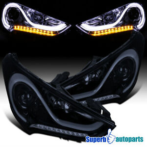 For 2012 2017 Hyundai Veloster Glossy Black Led Signal Projector Headlights Pair