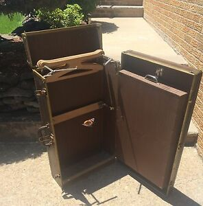 Vintage Antique Wardrobe Chest Steamer Trunk Suitcase Compartmental