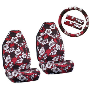 New Red Hawaiian Hibiscus Floral Car Front Seat Covers Steering Wheel Cover