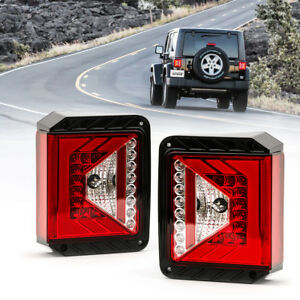 Xprite Black Led Tail Light With Red Lens For Jeep Wrangler Jk Jku 2007 2018