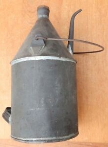 Large 12 Tall Antique Hand Soldered Tin Oil Lamp Filler Vessel Long Spout