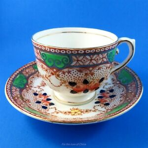 Handpainted Floral With Green Accents Salisbury Tea Cup Saucer Some Crazing