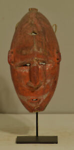 Papua New Guinea Mask Red Boiken Tribe Spirit Ceremonial Red Wood Mask