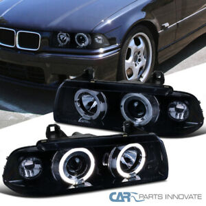 Fit 92 98 Bmw E36 2 4dr Halo Glossy Black Projector Headlights Smoke Head Lamps