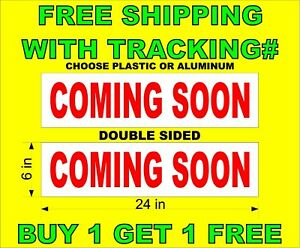 Coming Soon Red White 6 x24 2 Sided Real Estate Rider Signs Buy 1 Get 1 Free