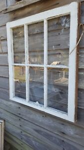 Architectural Salvage Antique Window Sash C 1900s 29x28 6 Pane Wavy Glass