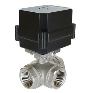 1 Npt 3 way 12v Dc motorized Ball Valve Stainless Steel Ptfe 3 wire