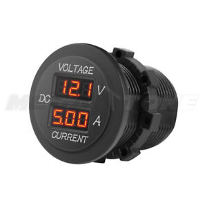 1 Pc Red Led Round Digital Display Dual Volt Ammeter Car Truck Suv Usa Seller
