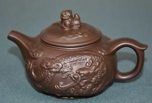 Fine Chinese Zisha Purple Sand Clay Teapot Finely Carved Natural Material Ee5195