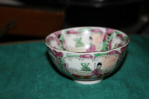 Small Chinese Famille Rose Rice Bowl Marked Bottom Painted Scenes