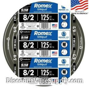 Southwire 8 2 Awg Gauge 125ft Indoor Electrical Copper Wire Wground Romex Cable