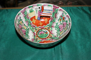 Chinese Famille Rose Bowl Marked Bottom Colorful Scenes